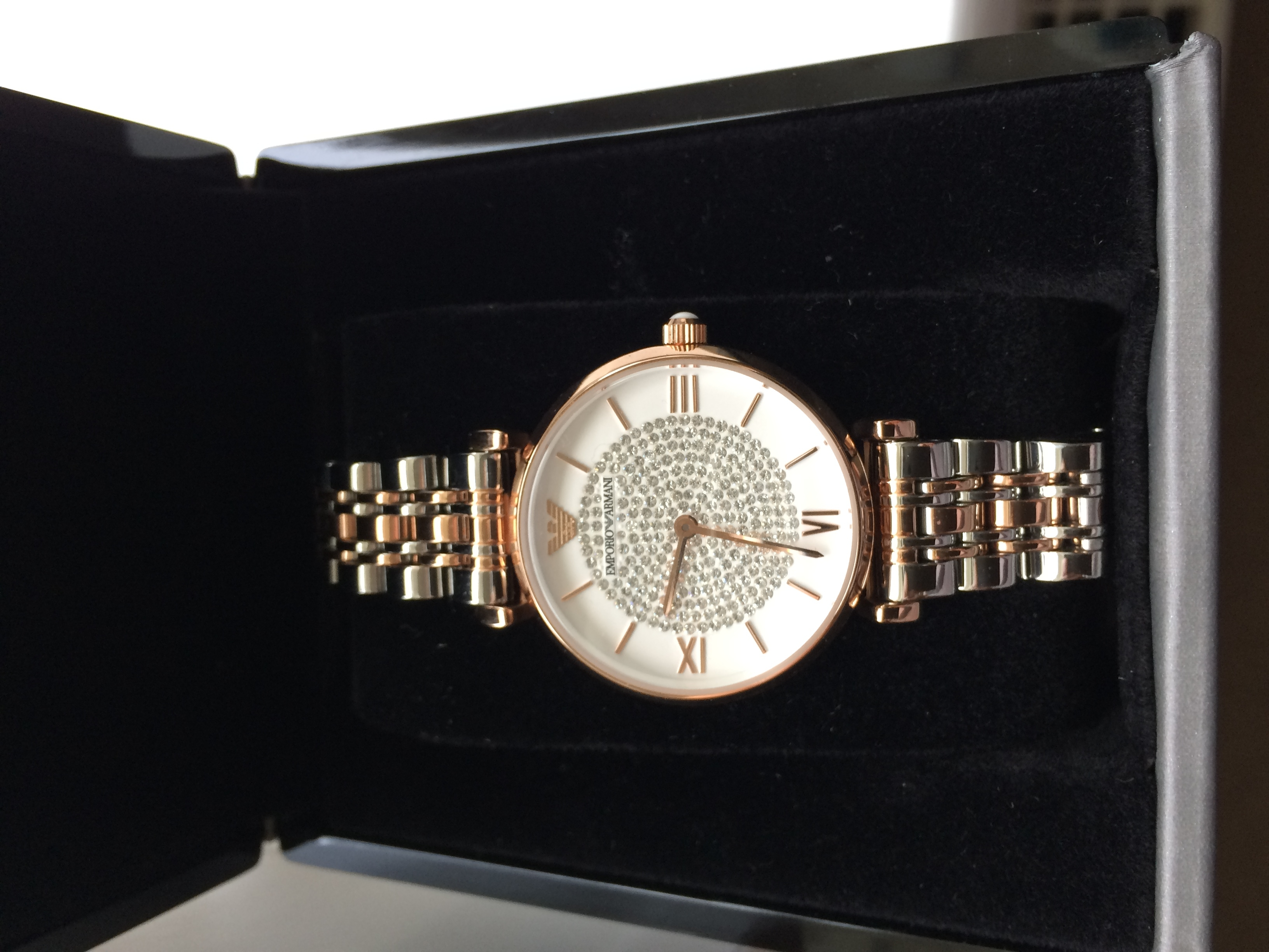 silver rose gold metal ar1926 emporio armani watch